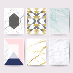 Wall Mural - Marble with golden texture background design collection  for wedding card, book cover, banner and luxury website vector illustration set