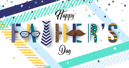 Colorful Father's day greetings card with typography text. Lettering design. Vector illustration.