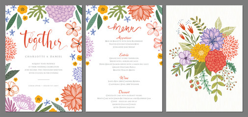 Wedding invitation and menu design template with floral wreath. Vector illustration.
