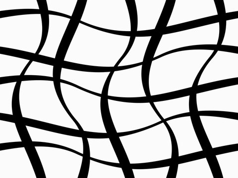 Abstract geometric pattern with figures of wavy lines. Monochrome ornament. isolated on white background