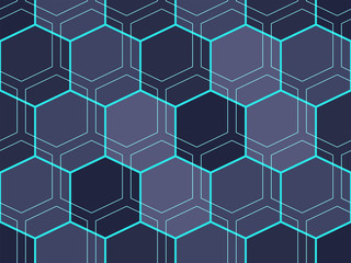 Abstract geometric pattern with blue hexagons, technology concept. Colorful ornament. isolated on gray-black background