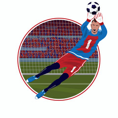 Round emblem or sticker with soccer goalkeeper catching ball with his hands in the fall, white background