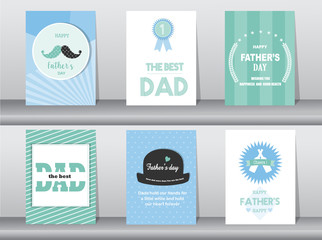 Set of Happy Father's Day card ,poster,template,greeting cards,cute,vintage,logo,Vector illustrations