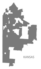 Kansas Missouri city map grey illustration silhouette shape
