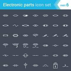 Electric and electronic icons, electric diagram symbols. Fuses and electrical protection symbols.