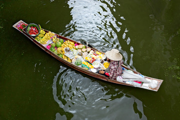 Boats sale at  floating market in thailand.