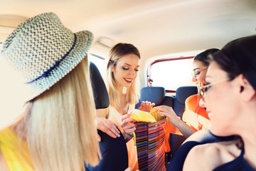 Happy beautiful young women after shopping together in car