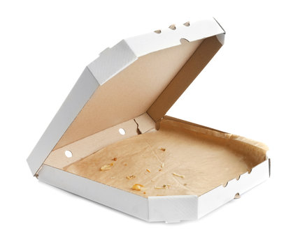 Open cardboard pizza box on white background