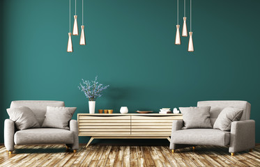 Interior with wooden dresser and armchairs 3d rendering