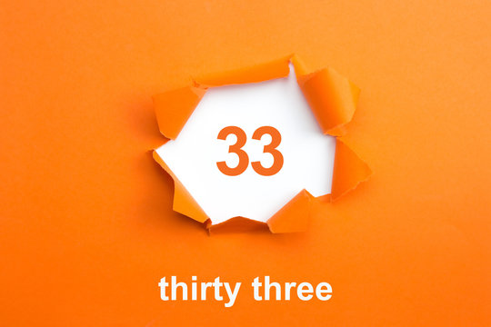 Number 33 - Number written text thirty three