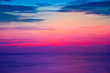Digital painting colorful sky  sunset Burning over the sea at twilight times.