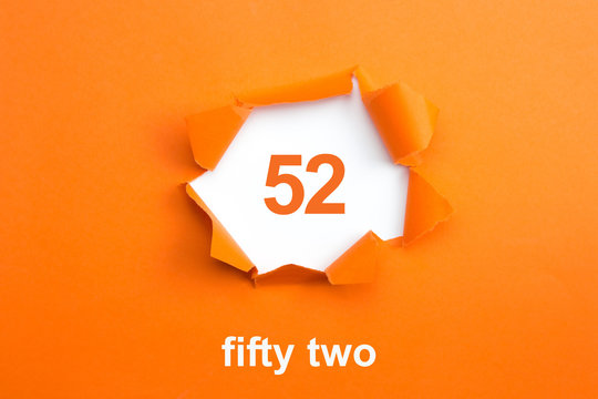 Number 52 - Number written text fifty two