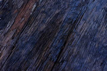 Close-up of Firewood surface with old natural pattern,Dark wood texture.