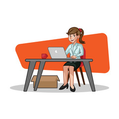 Business Woman Desk Vector