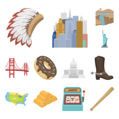 USA country cartoon icons in set collection for design.Travel and attractions vector symbol stock web illustration.