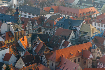 View over historic centre of Heppenheim town, Germany