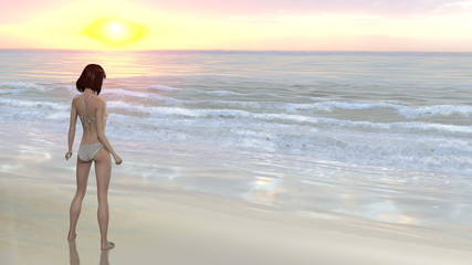 Woman in bikini on beach watching sunset