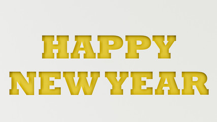 Yellow Happy New Year words cut in white paper