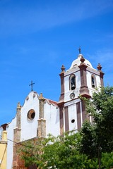 View of the Gothic cathedral (Igreja da Misericordia) in the town centre, Silves, Portugal.