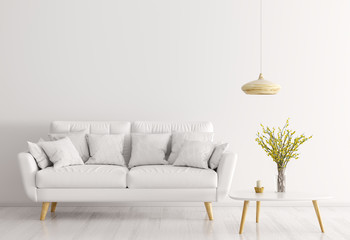 White interior of living room with sofa 3d rendering