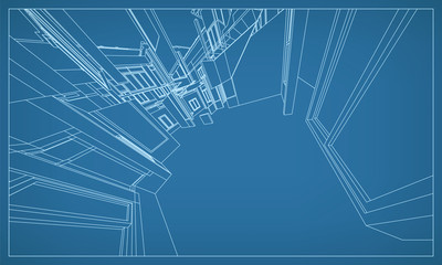Abstract 3D rendering of building wireframe structure. Vector construction graphic idea for template design.