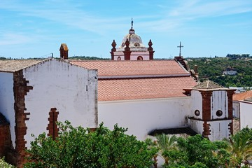 Elevated view of the Gothic cathedral (Igreja da Misericordia) seen from the castle, Silves, Portugal.