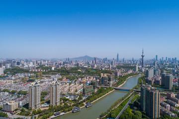 Poster de jardin Paris Aerial view over the Nanjing city, urban architectural landscape