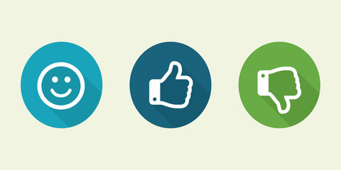 Set of thumbs up and emoji smile on a white background. Facebook icon, social media icon.