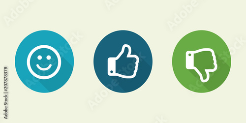 Set Of Thumbs Up And Emoji Smile On A White Background Facebook
