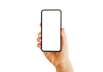 Person holding smartphone in hand. Mobile app mockup.