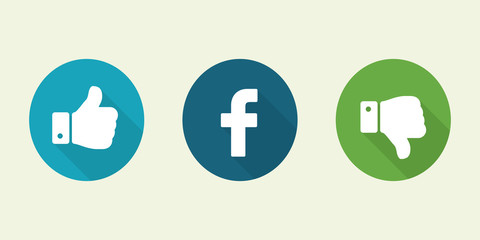Social media button. Facebook like icons.