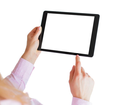 Woman using digital tablet. Mockup for your own app design.