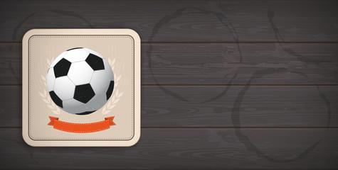Dark Wooden Background Beer Coaster Classic Football