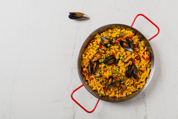 Traditional paella with mussels.