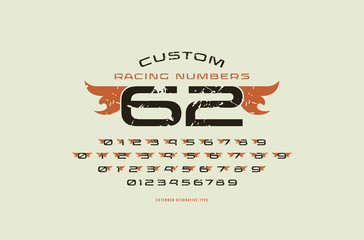 Set of initial numbers in racing style