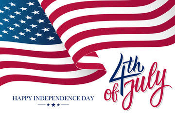 Happy 4th of July United States Independence Day celebrate banner with waving american national flag and hand lettering text design. Vector illustration.