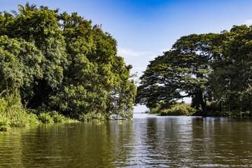 View of the Water of Lake Nicaragua Passing through Two of the Islands of the Isletas de Granada in Granada, Nicaragua