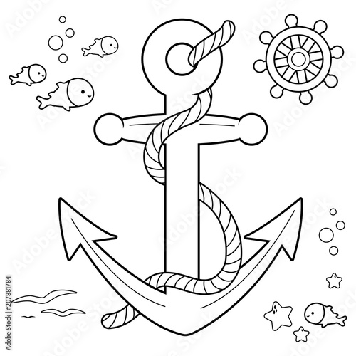 u0026quot nautical collection with anchor  boat rudder and fish