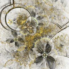 Golden fractal flowers, digital artwork for creative graphic design