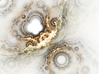 Golden fractal clockwork, digital artwork for creative graphic design