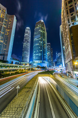 traffic light stream and highrise bulidings in Hongkong city,china