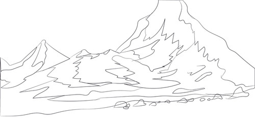 landscape mountains, lines, vector