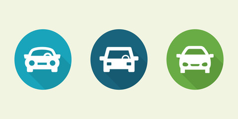Car front view set.Transport icons.