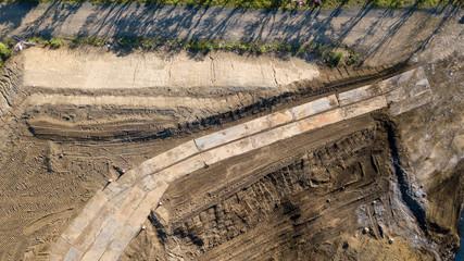 [空撮写真]上空からみる工事現場