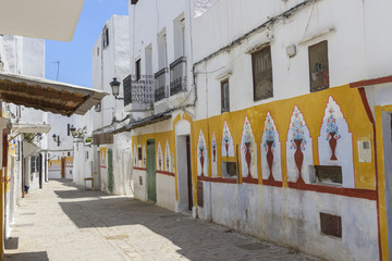 Painted houses in Totouan, Morocco