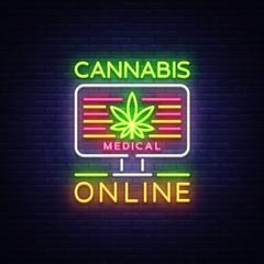 Marijuana Medical Logo Neon Vector. Cannabis Online, Marijuana smoking, storing and growing cannabino medical equipment, light banner, design template. Vector illustration