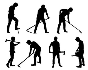 Set silhouette of young man - gardener or farmer with tools in different poses
