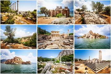 Collage of travel photos, Aegean coast, Turkey