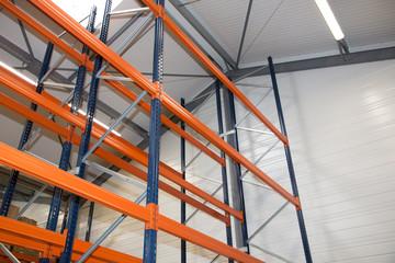 Pallet racking system equipment for warehouse shelves, racks blue orange