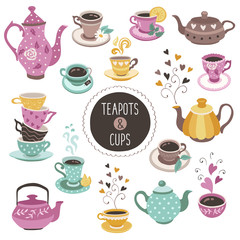 Hand drawn teapot and cup collection. Colorful tea cups, coffee cups and teapots isolated on white background. Vector illustration of tea time icons for cafe and restaurant menu design.